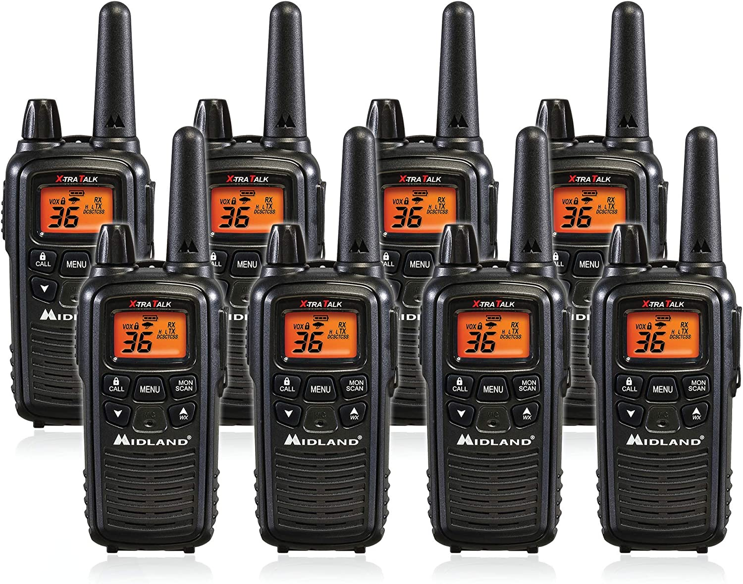 Midland LXT600VP3 36 Channel FRS Two-Way Radio - Up to 30 Mile Range Walkie Talkie - Black (8 Pack)