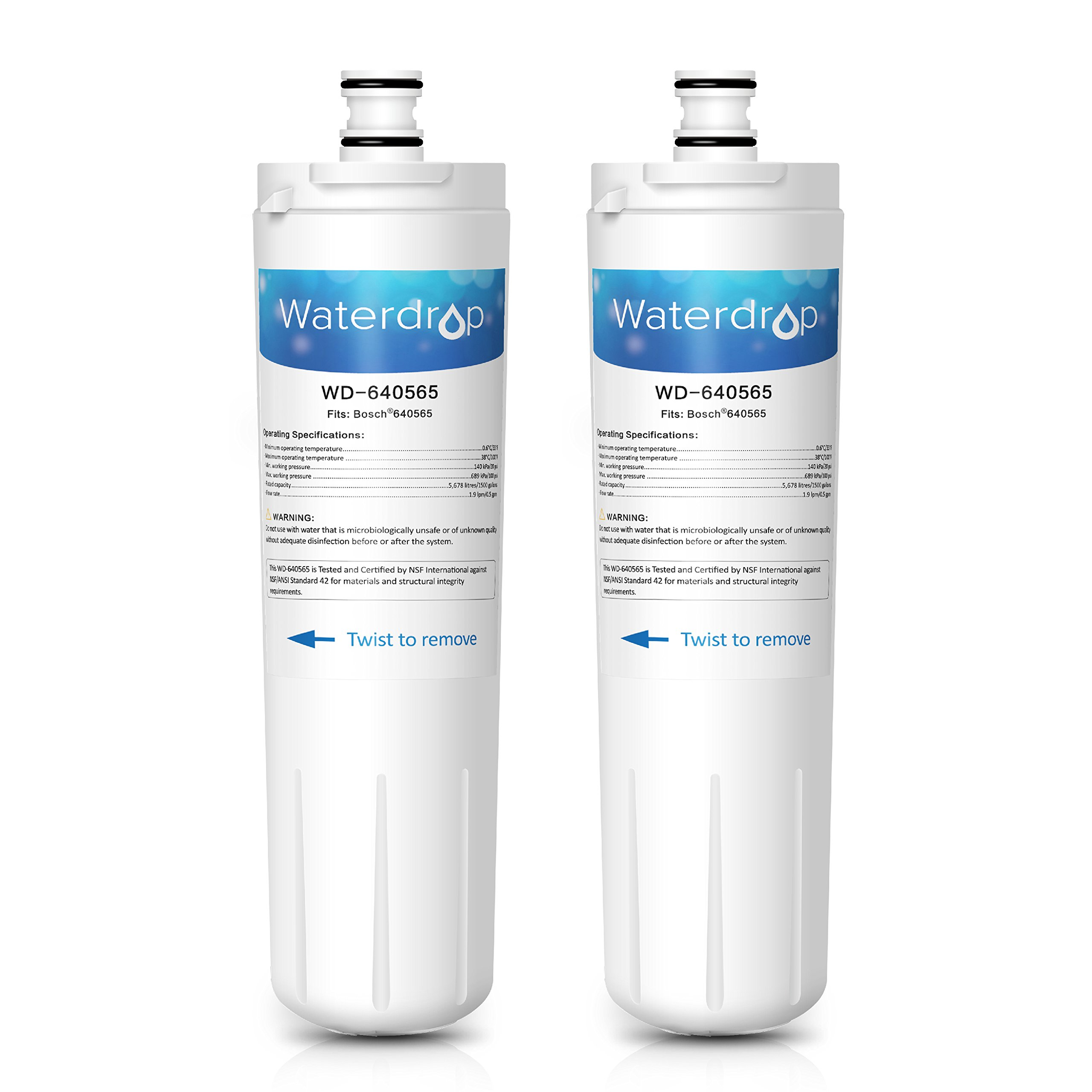 Waterdrop 640565 Replacement Refrigerator Water Filter, Compatible with Bosch 640565, EVOLFLTR10 AP3961137, Whirlpool WHKF-R-Plus (2 Pack)
