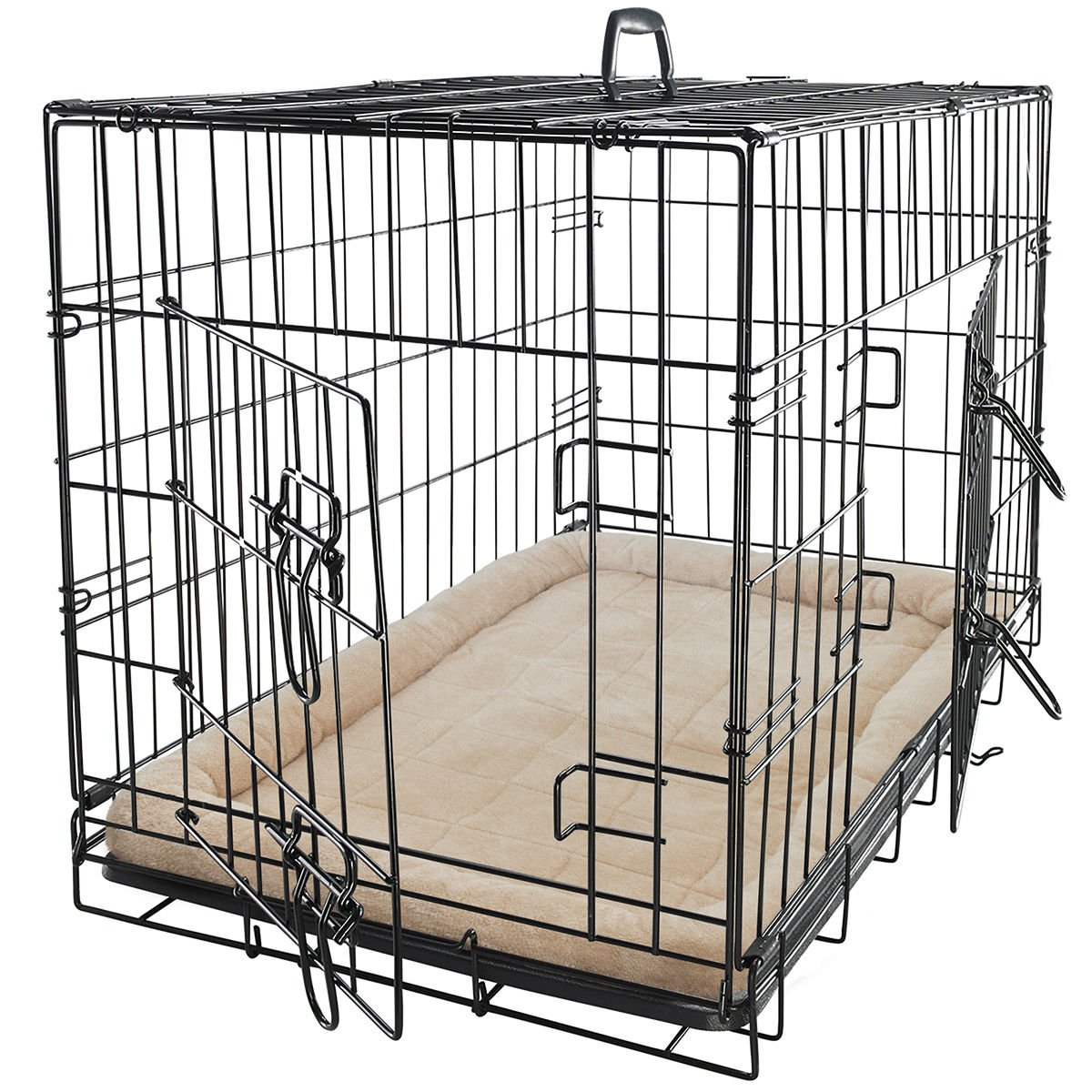 Steel Wire Metal Folding Dog Cat Cage With Bed Liner Mattress Cushion Dog Crate Kennel Removable Tray Size M