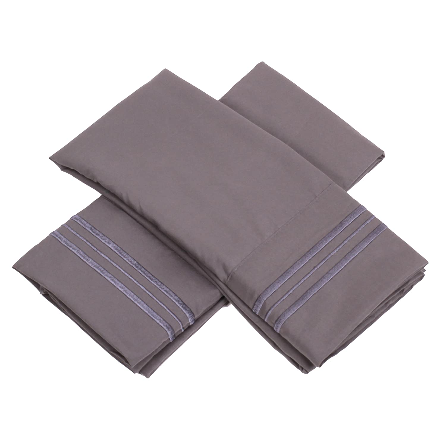 Sweet Home Collection 1500 Series Egyptian Quality Deep Pocket Pillowcase, King, Gray