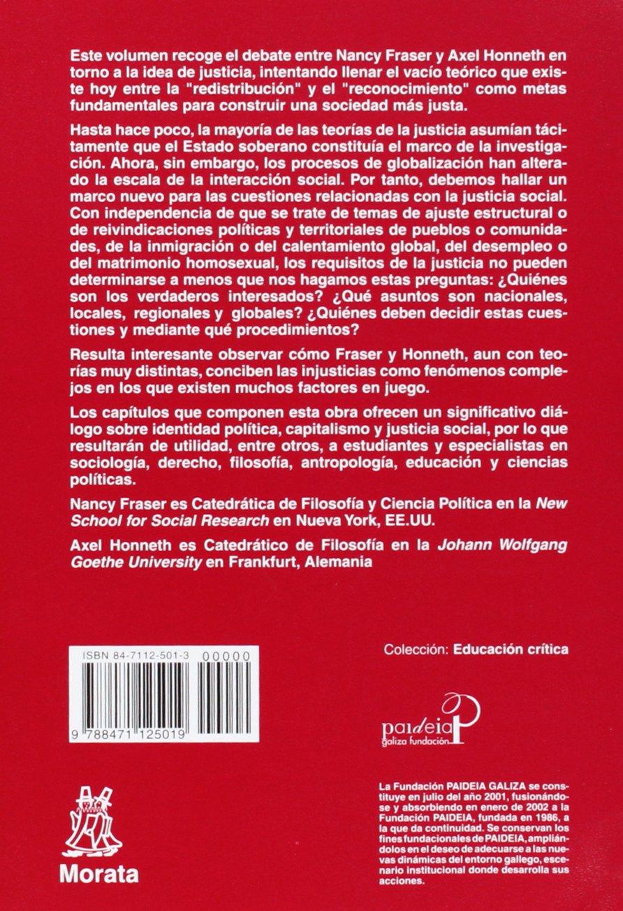 Redistribución O Reconocimiento Un Debate Político Filosófico Educación Crítica Amazon Es Fraser Nancy Honneth Axel Manzano Bernárdez Pablo Libros