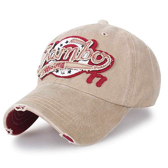 ililily Washed Cotton Jambo Vintage Trucker Hat Casual Baseball Cap ... cc1ba8b02ad0