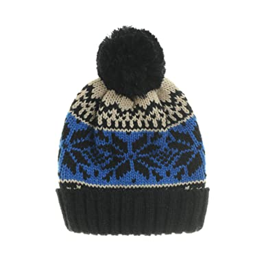 e29763f4afa WITHMOONS Knitted Fairs Isle Nordic Bobble Pom Beanie Hat CR5169 (Black)