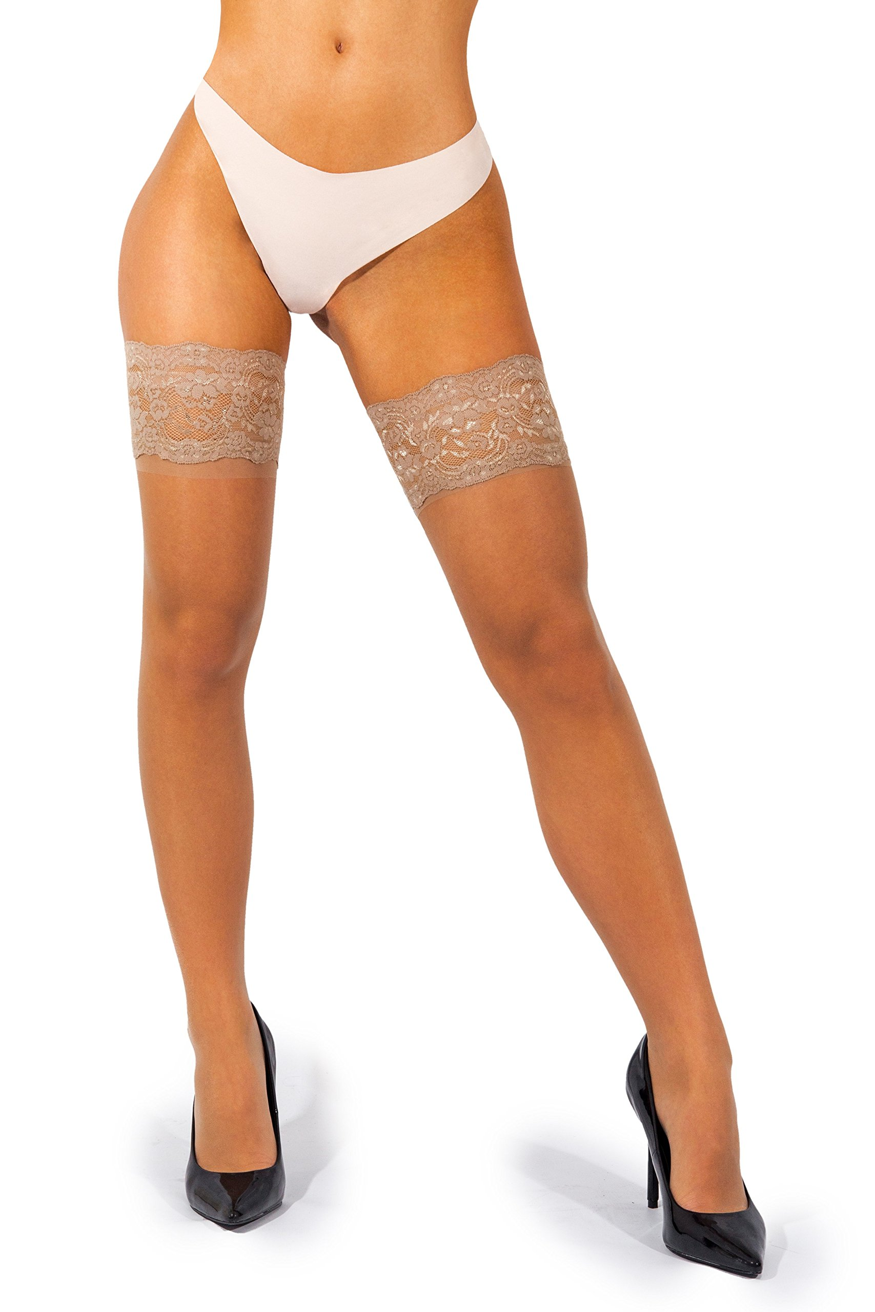 sofsy Lace Thigh-High Sheer Hold-Up Nylon Pantyhose Stockings Deep Wide Silicone Top 20 Denier [Made in Italy] Natural Beige 3/4 Medium/Large cd