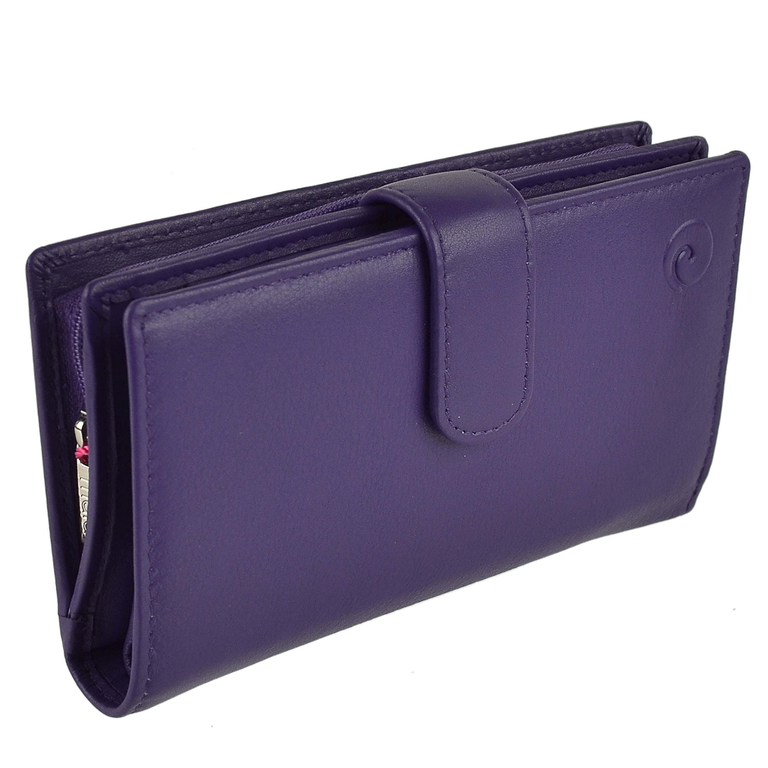Mala Leather Women's Soft Leather Tabbed Rfid Protection Purse/Wallet One Size Purple