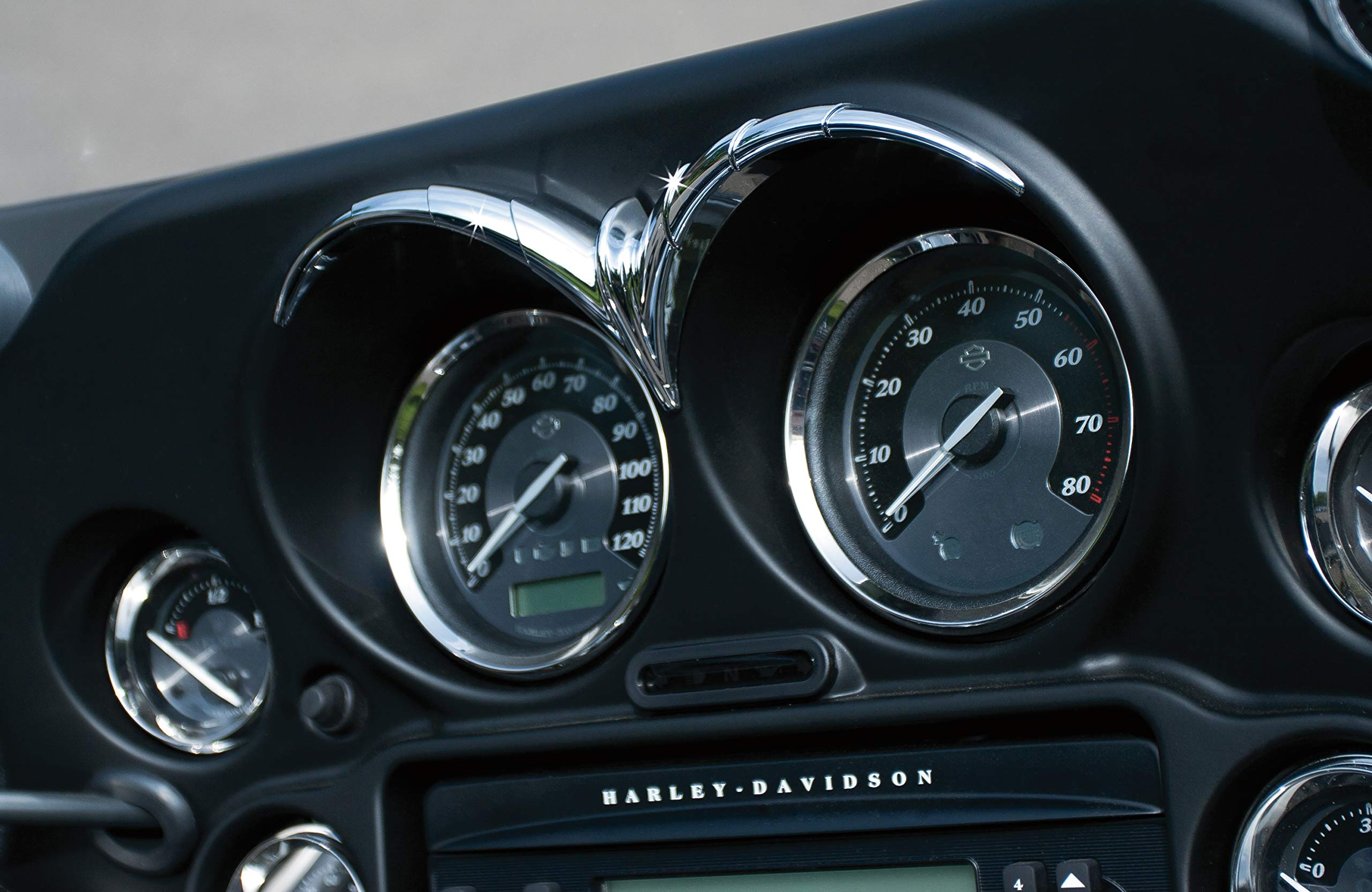 Kuryakyn 7746 Motorcycle Accent Accessory: Speedometer/Tachometer Brow Accent Trim for 1996-2013 Harley-Davidson Motorcycles, Chrome by Kuryakyn