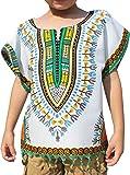 Raan Pah Muang RaanPahMuang 明亮非洲白色衬衫 Childs Dashiki 装饰流苏