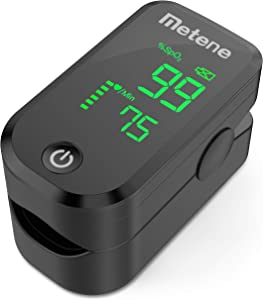 Pulse Oximeter Fingertip, Blood Oxygen Saturation Monitor with Pulse Rate and Accurate Fast Spo2 Reading Oxygen Meter, Portable Oximeter with Lanyard and Batteries (Black)
