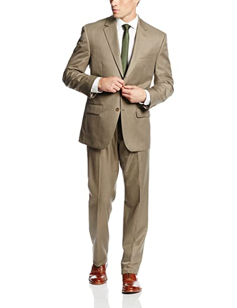 Bill Blass Mens Trent Light Brown Suit, Light Brown, 50 ...