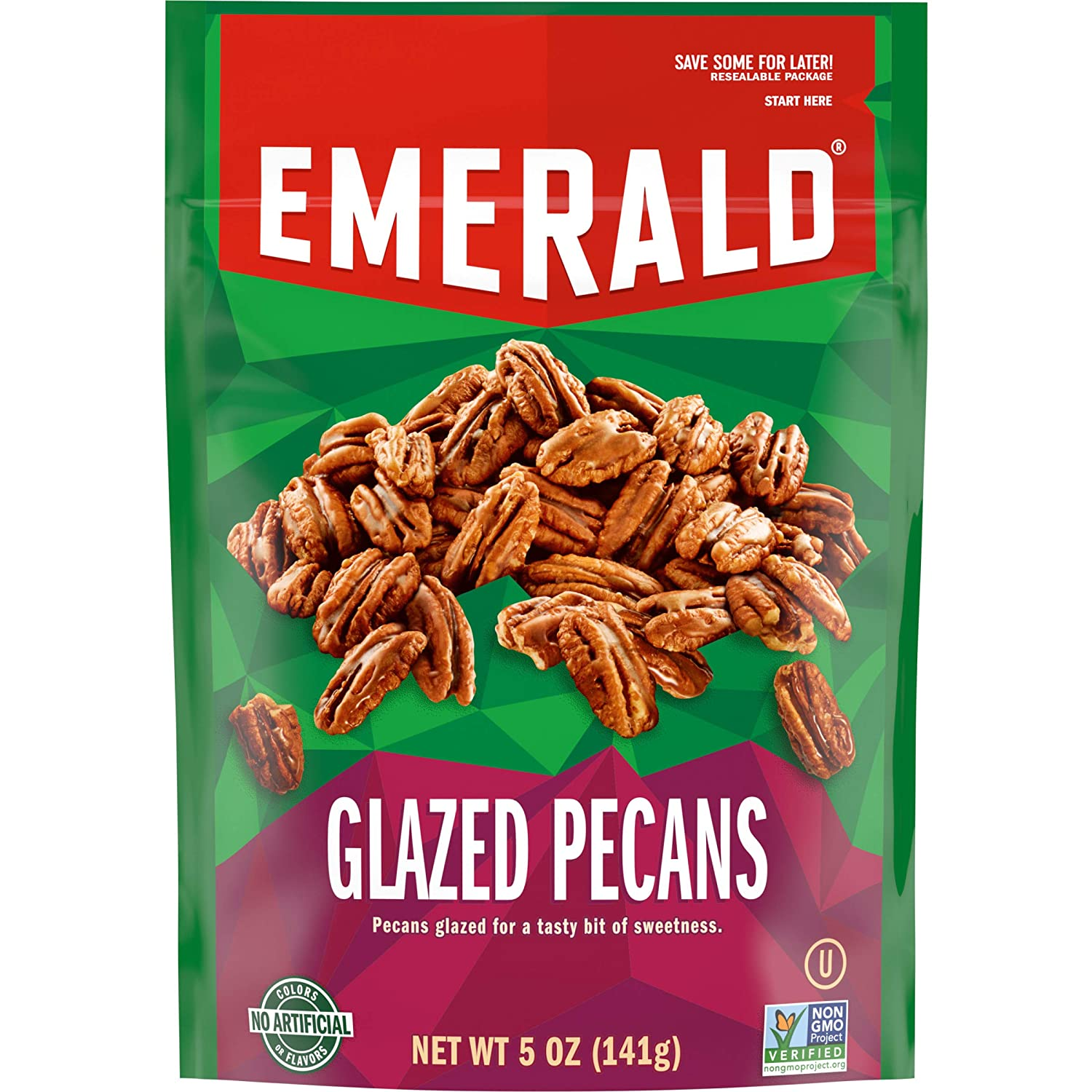Emerald Nuts, Glazed Pecans, 5 Ounce Resealable Bags (Pack of 6)
