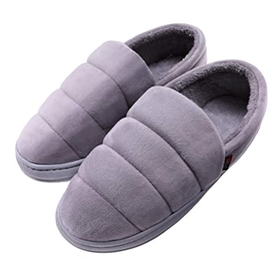 f4d06858438fe TRUEHAN Mens Memory Foam Slipper Comfy Warm Lightweight Plush Fleece Slip  On Slipper for Indoor and Outdoor House Shoes