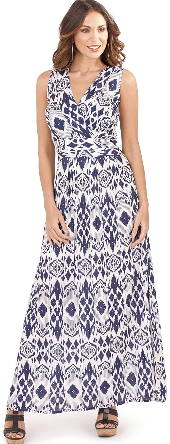Beautiful Ladies Womens Aztec Print Cross Over V Neck Maxi Dress with Pleat Detail, Red/White or Blue/White Dannii Matthews d720