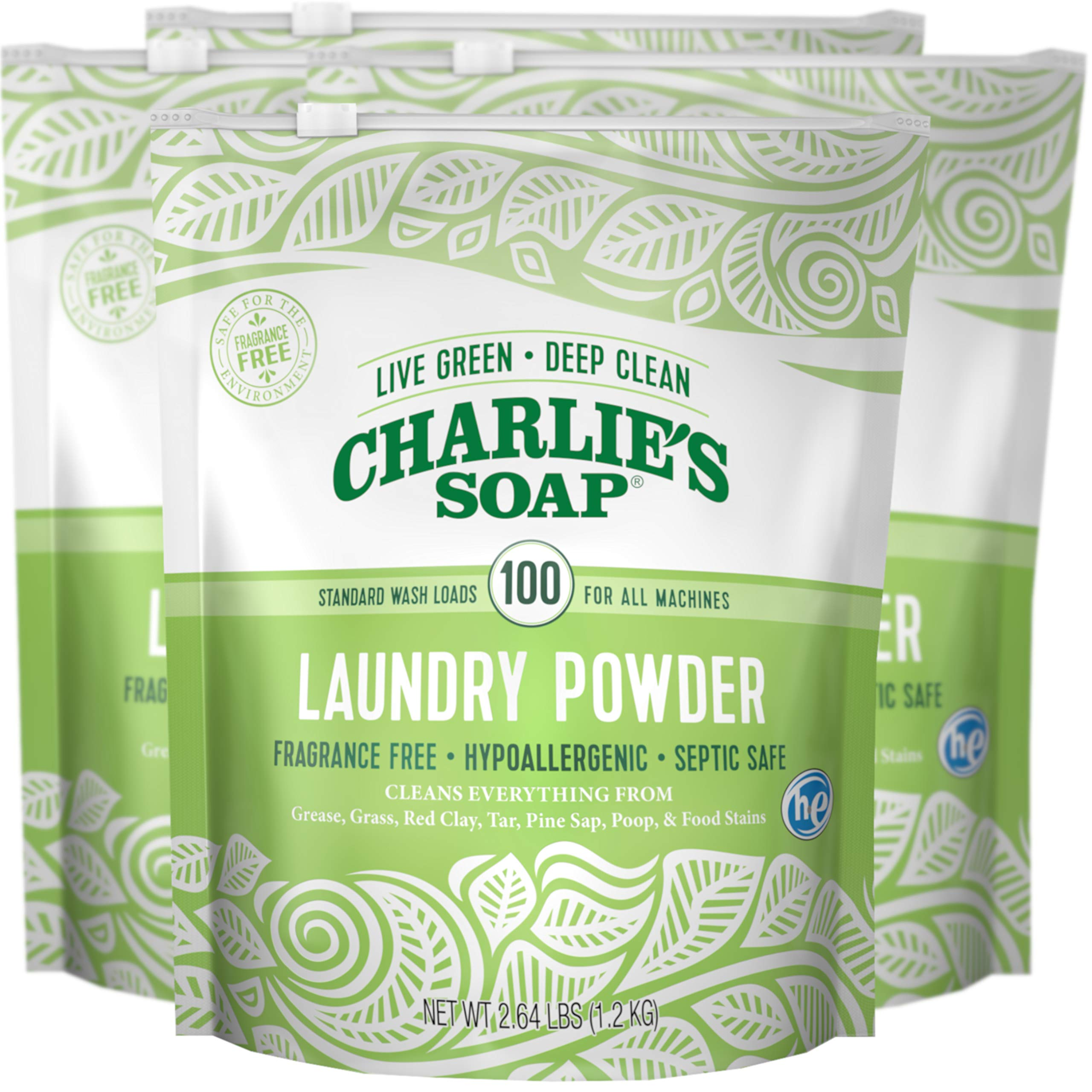 Charlie's Soap Laundry Powder (100 Loads, 4 Pack) Hypoallergenic Deep Cleaning Washing Powder Detergent - Eco-Friendly, Safe, and Effective by Charlie's Soap