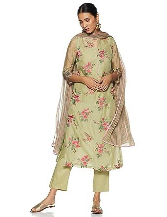3e6d5bb430f BIBA Women s Cotton a line Salwar Suit Set  Amazon.in  Clothing ...