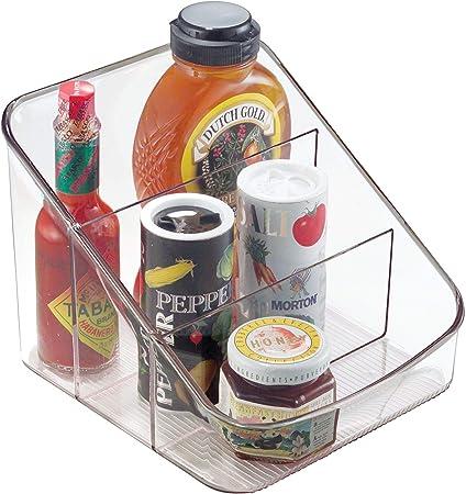iDesign Caja transparente con 3 compartimentos, organizador de cocina grande de plástico, caja organizadora para especias o alimentos envasados, transparente: Amazon.es: Hogar