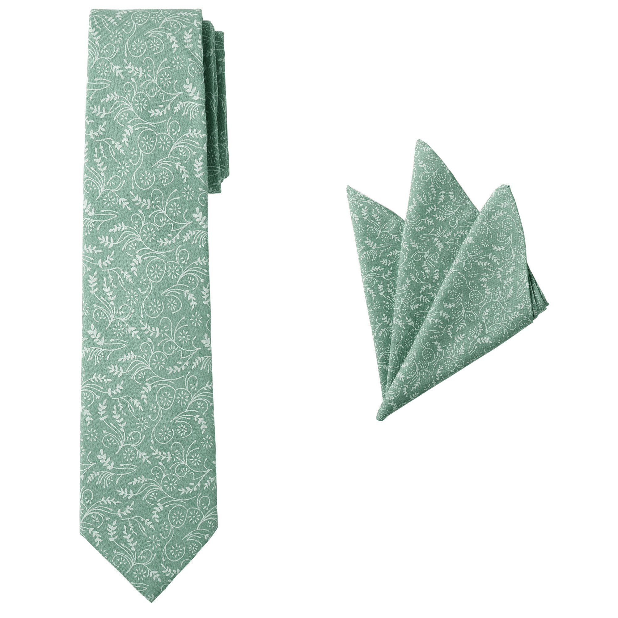Jacob Alexander Matching Men's Floral Reg Neck Tie and Hanky - Dusty Sage