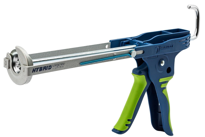 Caulk Gun, HybridTech, Slvr/Ble/Grn, 10oz.