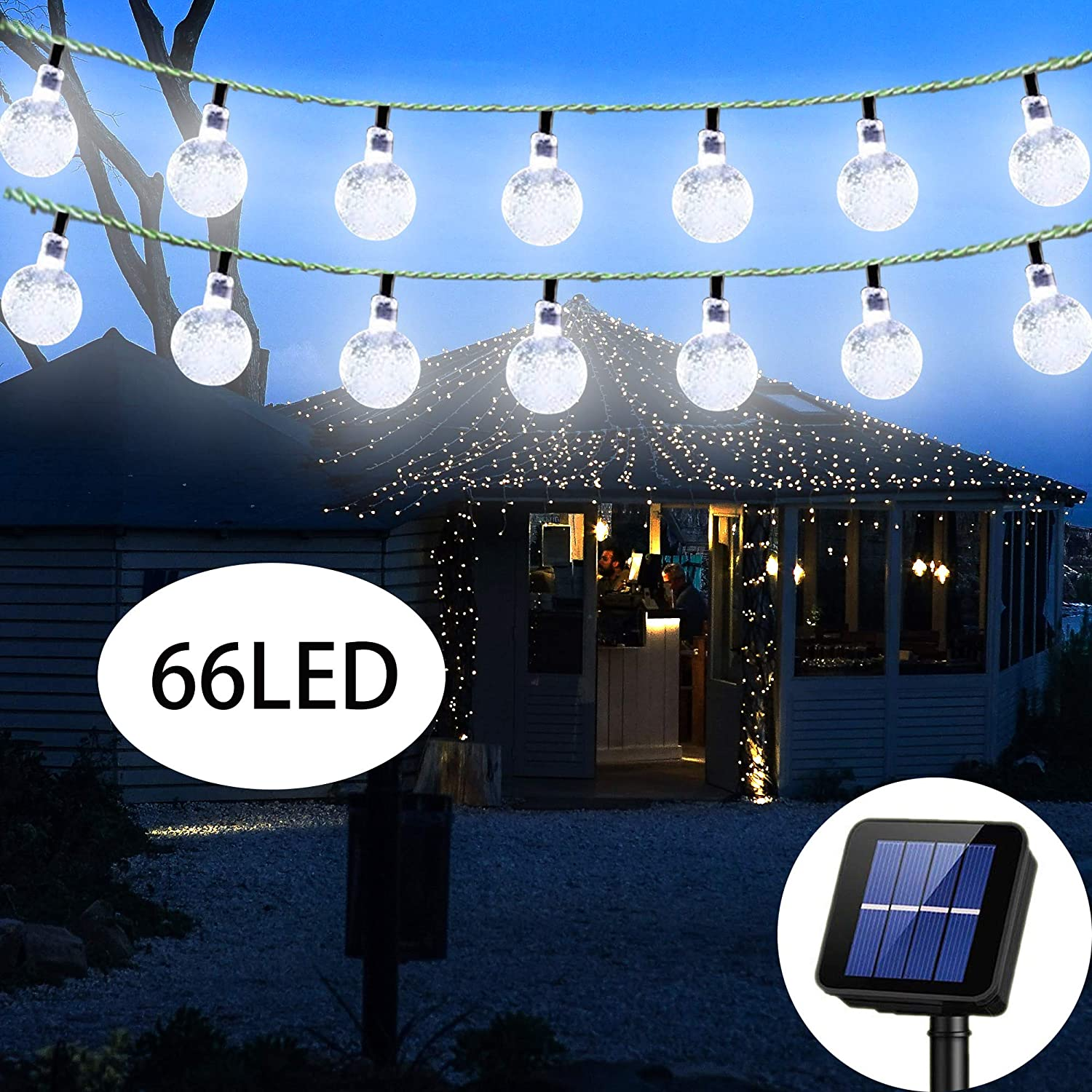 Irecey Solar String Lights Globe 38 Feet 66 Crystal Balls Waterproof LED Fairy Lights 8 Modes Outdoor Starry Lights Solar Powered String Light for Garden Yard Home Party Wedding Decoration(White)