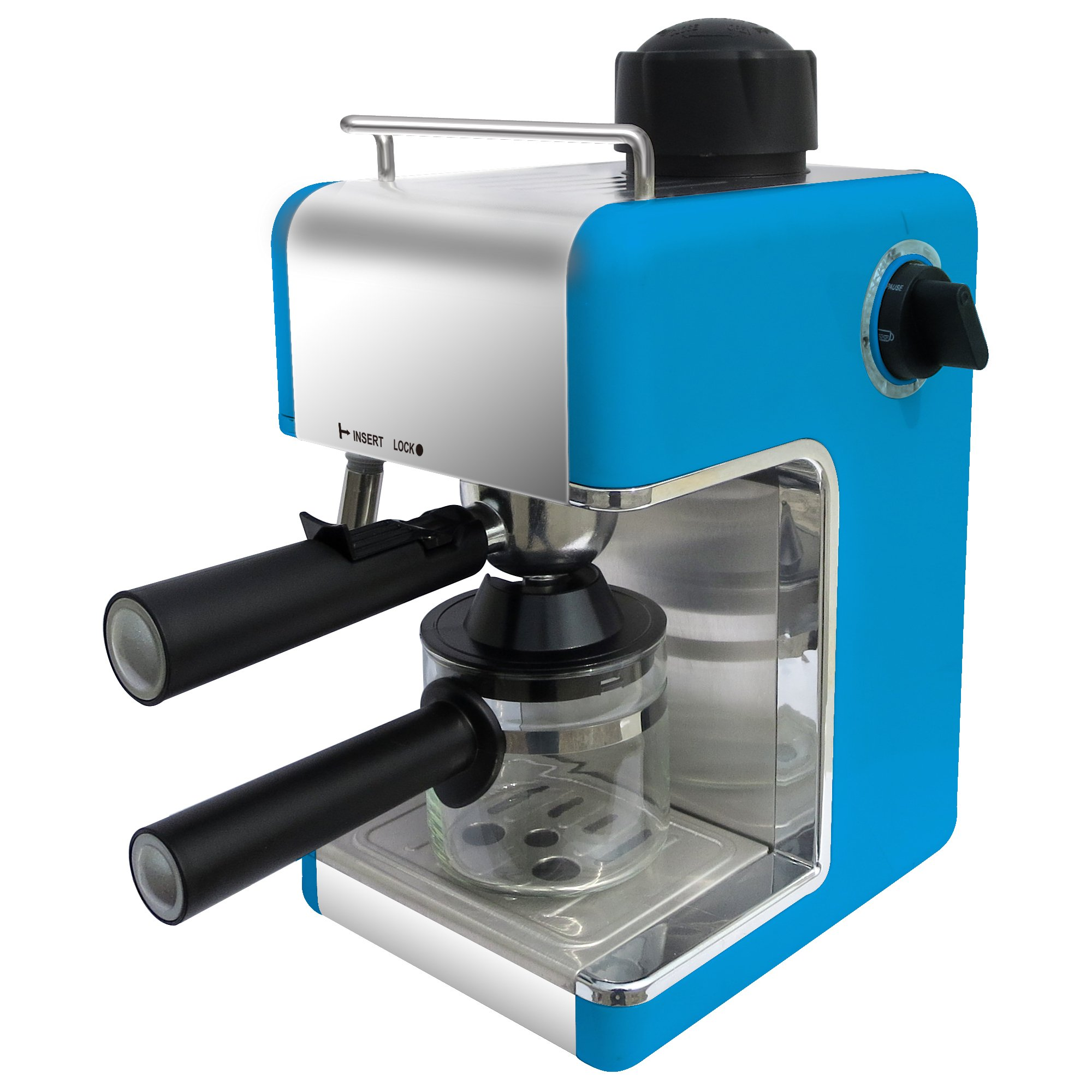 Bene Casa Stainless Steel 4-Cup Blue Espresso Maker with Frother by Bene Casa