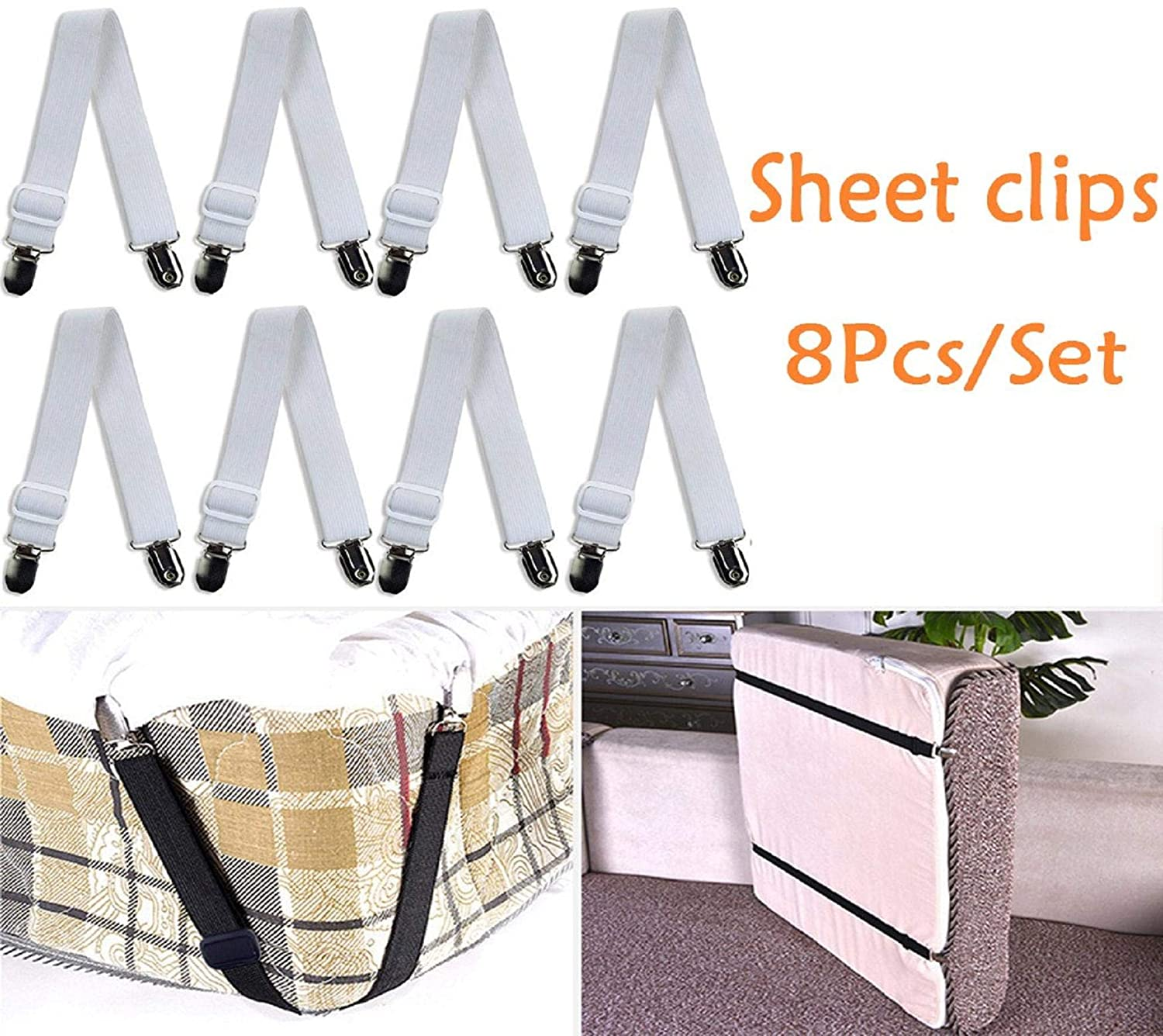 Vertily Sheet Clips,8Pcs Metal Bed Sheet Fasteners Mattress Strong Clip Grippers Elastic Holder,Adjustable Triangle Heavy Duty Elastic Sheet Band Straps Suspenders Corner Gripper Holder