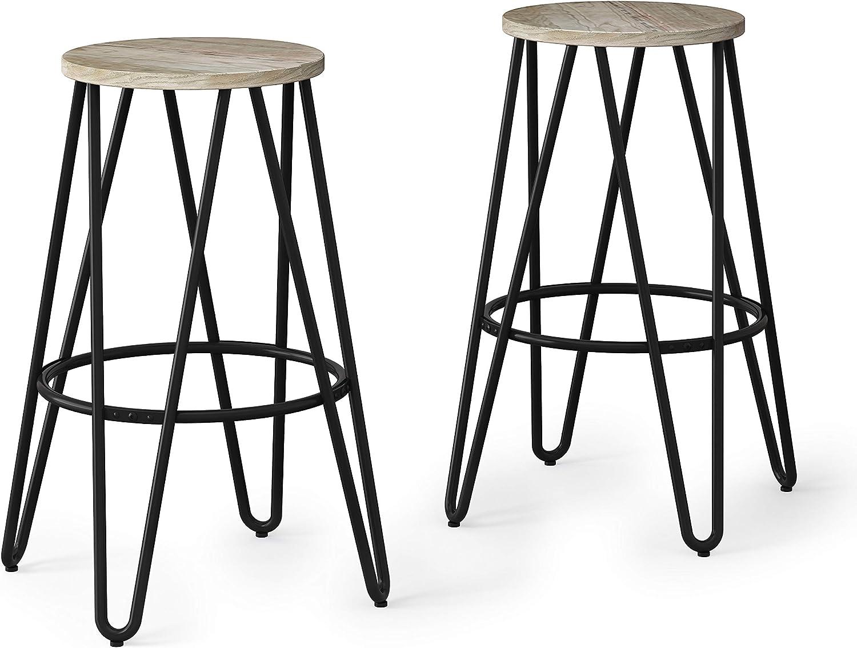 SIMPLIHOME Simeon Industrial Metal 26 inch Metal Counter Height Stool with Wood Seat (Set of 2) in Natural / Black