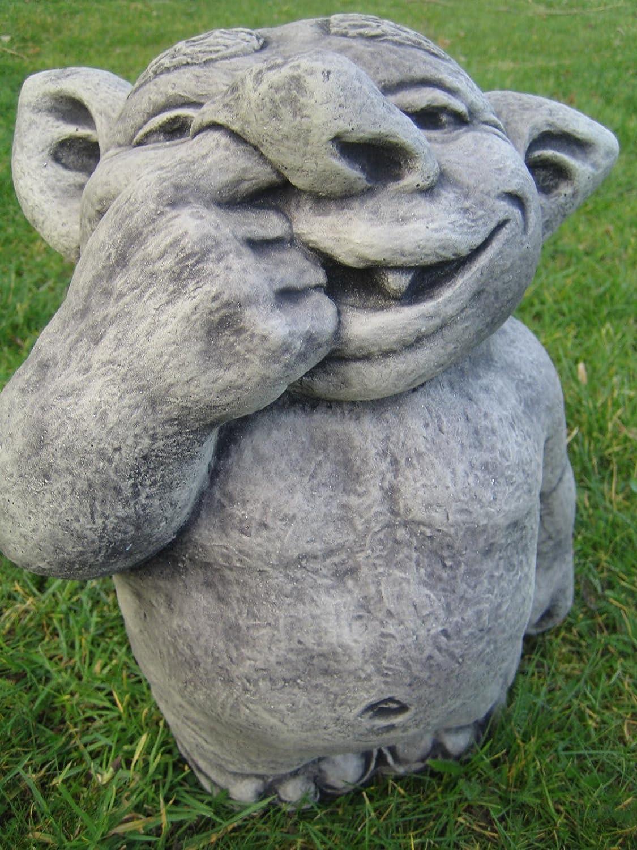 Nose picking troll stone garden ornament