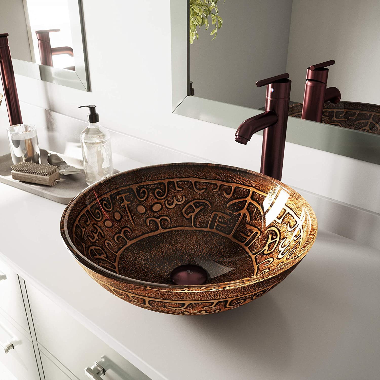 VIGO Golden Greek Glass Vessel Bathroom Sink and Seville Vessel Faucet with Pop Up, Oil Rubbed Bronze