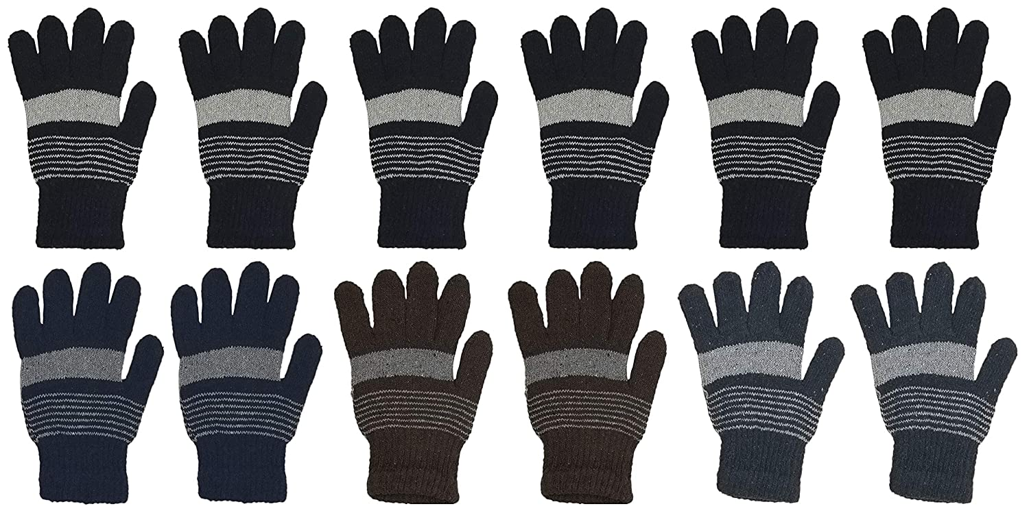 Winter Magic Gloves, 12 Pairs Stretchy Warm Knit Bulk Pack Mens Womens, 12 Pairs Unisex Stretchy Warm Knit Bulk Pack One Size Mens Womens Wholesale (12 Pairs Assorted Knit)