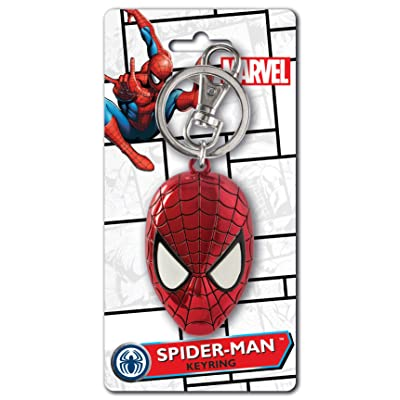 Marvel Spider-Man Colored Head Pewter Key Ring: Toys & Games