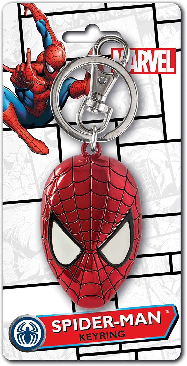Marvel Spider-Man Colored Head Pewter Key Ring Multi-colored, 1