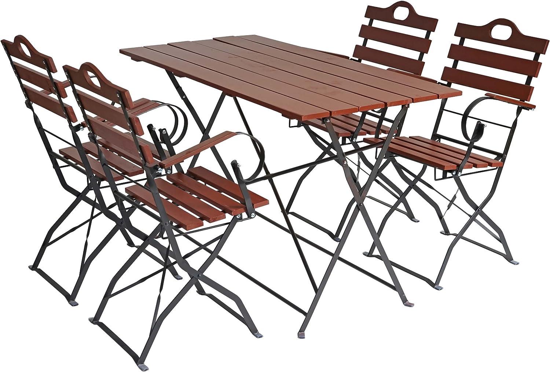 Mendler Biergarten-Garnitur Graz, Bistro-Set Garten-Set, klappbar, Akazie lackiert ~ braun