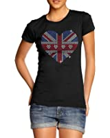 Twisted Envy Women's Union Jack Heart Rhinestone Diamante T-Shirt