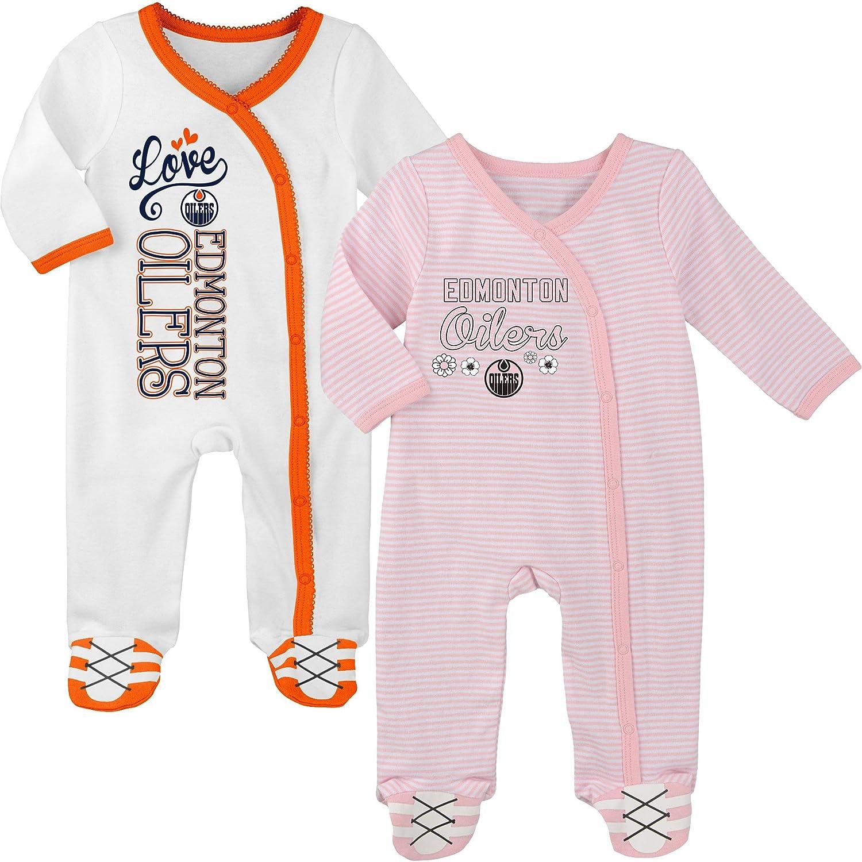 Edmonton Oilers Newborn Girls 2nd Period 2-Piece Long Sleeve Coverall Set - Size 0-3 Months Outerstuff