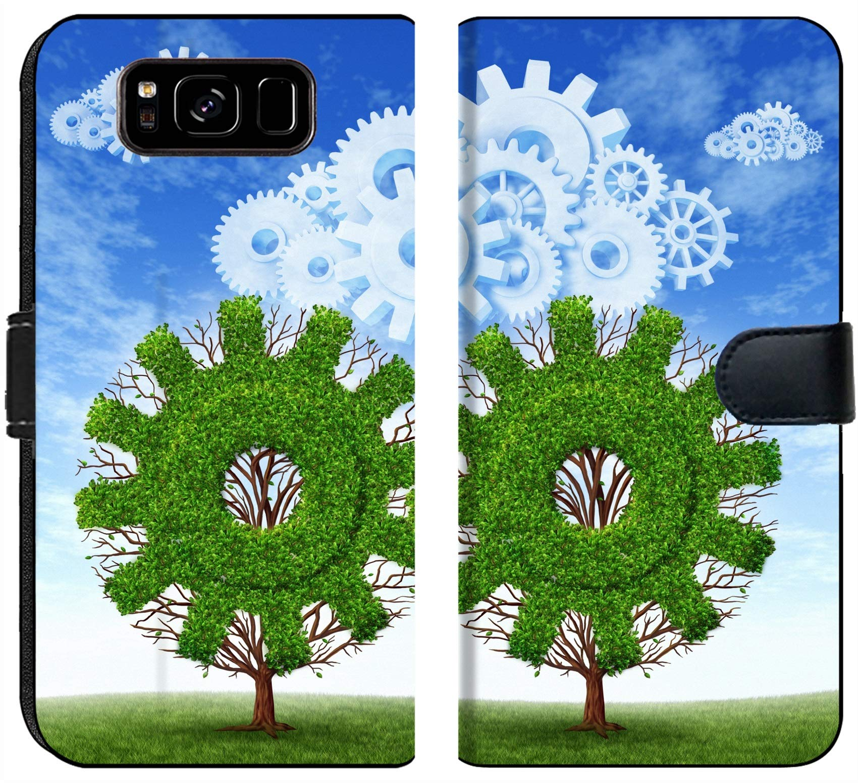 Liili Premium Samsung Galaxy S8 Flip Micro Fabric Wallet Case Cloud computing growth and the future of virtual storage and internet based remote desktop illustrated by t by Liili