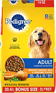 PEDIGREE Complete Nutrition Adult Dry Dog Food Roasted Chicken, Rice & Vegetable Flavor Dog Kibble, 20.4 Lb. Bag