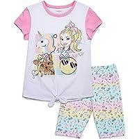 MaQiYa Girls 2 Piece Outfits Short Sleeve Tee Shirts and Drwastring Shorts with Pockets Kids Clothes Sets
