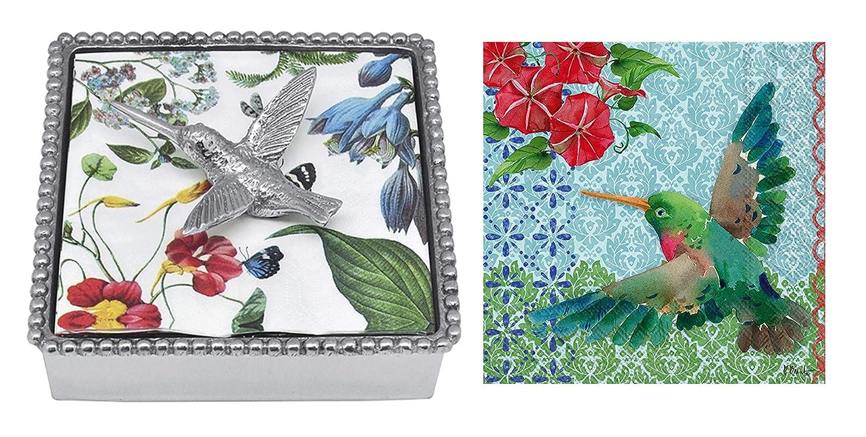 Mariposa Beaded Napkin Box with Hummingbird Napkin Weight /& 2 Sets of Napkins