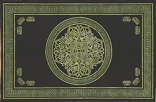India Arts Celtic Circle Tapestry-Bedspread-Wall Hanging-Green, Black Green,