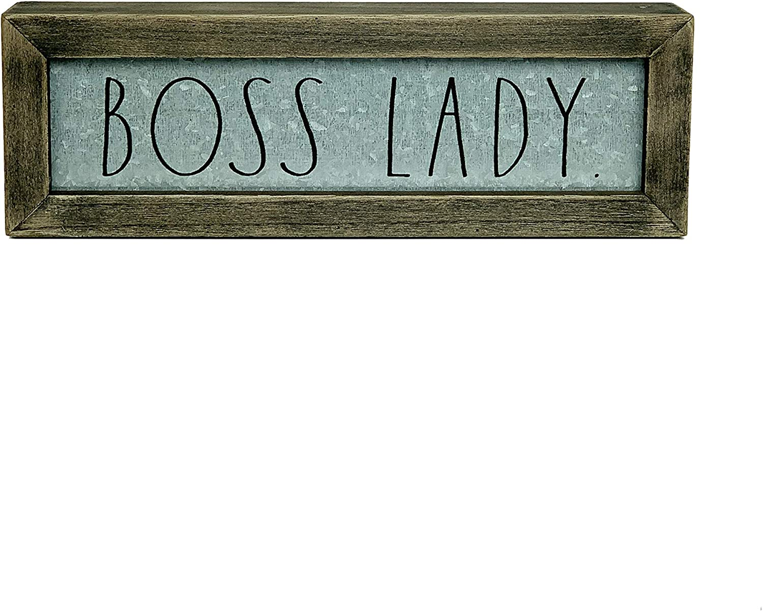 "Rae Dunn""Boss Lady"" Desk Plaque - Inspirational Message Desktop Sign for Home and Office Décor - Décor - Motivational Vintage Display for Artist, Graphic Designer - Chic Distressed Wood and Metal"