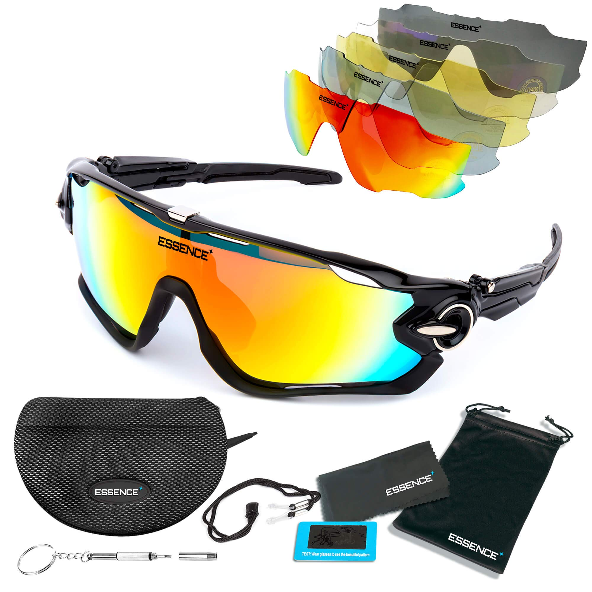 08cafc3f01 essence  Polarised Sports Sunglasses - Mens   Womens Cycling Glasses +5  Interchangeable lenses with
