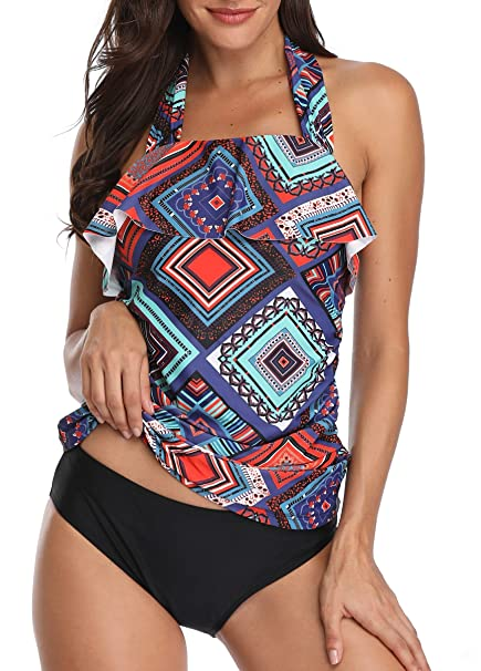 c38f9cf8d62 Daci Women Two Piece Halter Swimsuits High Neck Flounce Bikini Top with  Hipster Triangle Bottoms Tankini Set at Amazon Women s Clothing store