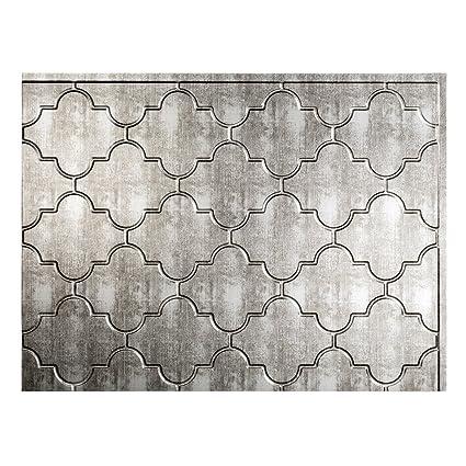 Fasade Easy Installation Monaco Crosshatch Silver Backsplash Panel