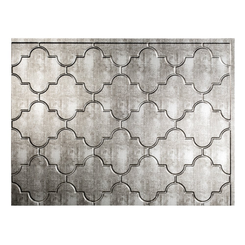 Fasade Easy Installation Monaco Crosshatch Silver Backsplash Panel for Kitchen and Bathrooms (18'' x 24'' Panel)