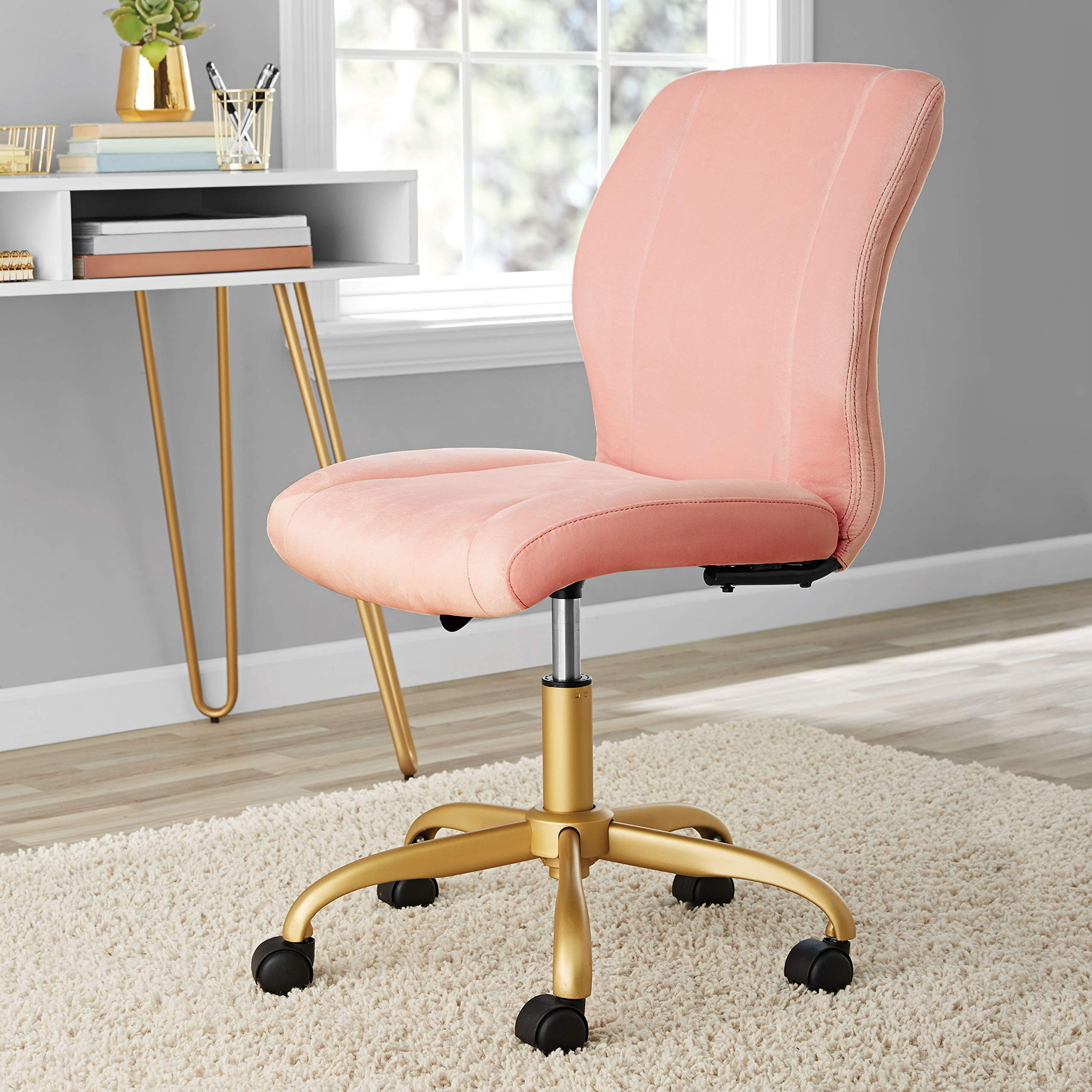 Make Your Room or Office a Fashionable,Yet Functional Space with Chic,Elegant,Durable and Comfortable Plush Velvet Office Chair,Pearl Blush Upholstery by MST