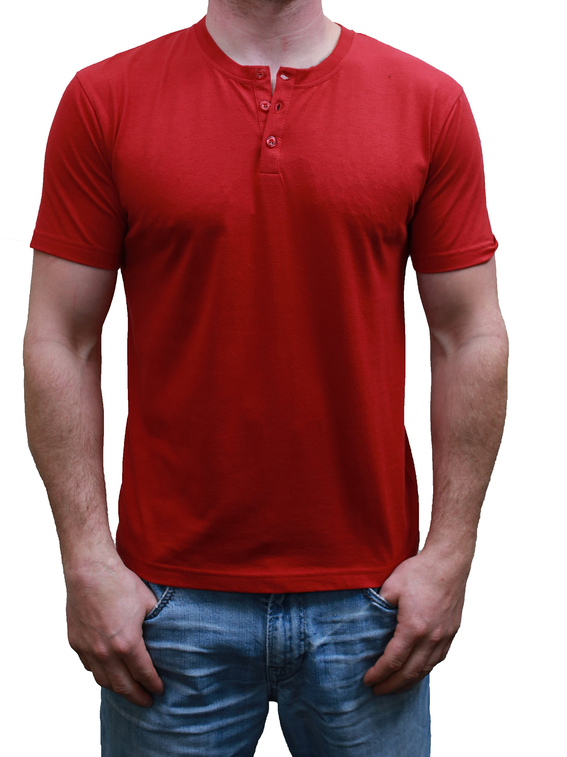 Henley Mens  Short Sleeve TShirt with 3 Buttons, Solid Burgundy, Medium