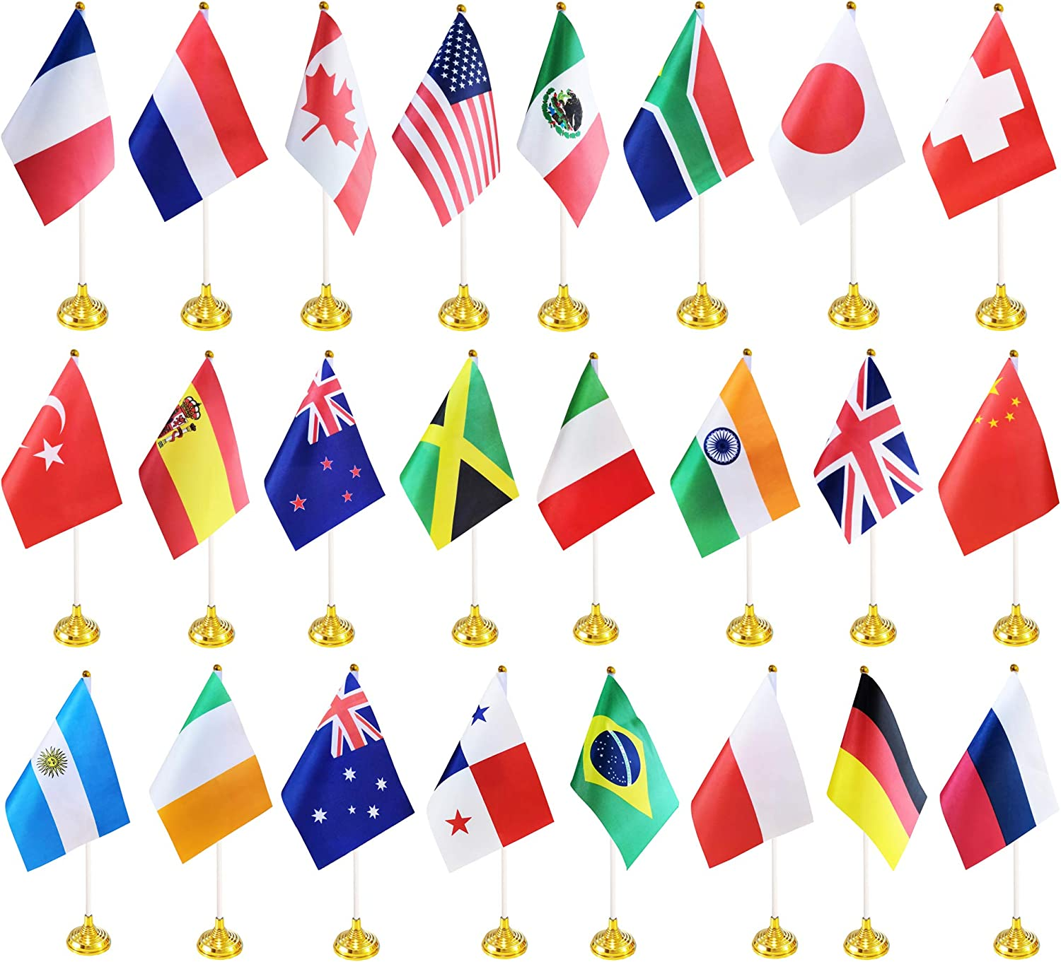 BCLin 24 Pack International Country Desk Flags,Small Mini World Deluxe Table Flags Set with Stand Base,8.2 x 5.5 inches Miniature Desktop Flag