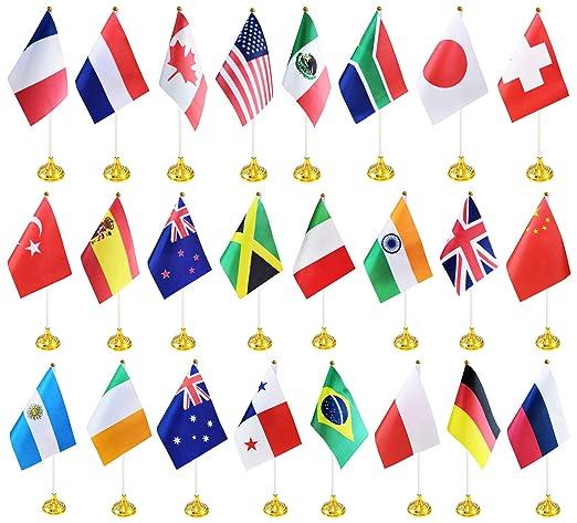 BCLin - Juego de 24 Banderas de Escritorio de Campo, Mini Banderas ...