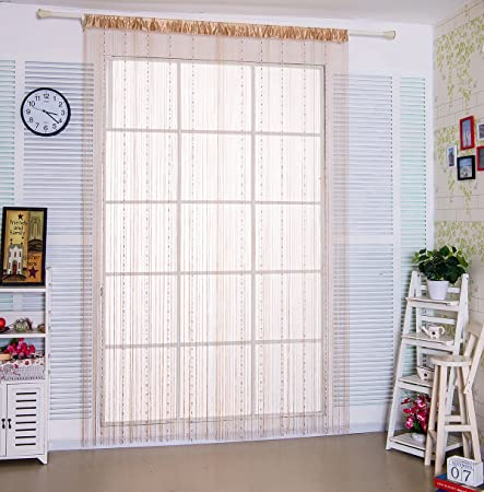 HSYLYM String Curtain With Plastic Beads Chain Panels Fringe Tassel Curtains 90x200cmChampagne