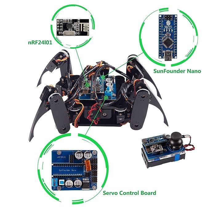 SunFounder Kit de rastreo robot cuadrúpedo DIY para Arduino con Nano Board Remote Control (Negro): Amazon.es: Juguetes y juegos