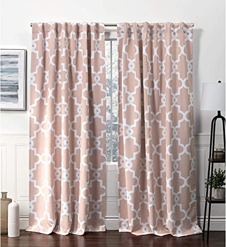 Exclusive Home Curtains Ironwork Hidden Tab Top Curtain Panel, 52×96, Blush, 2 Panels